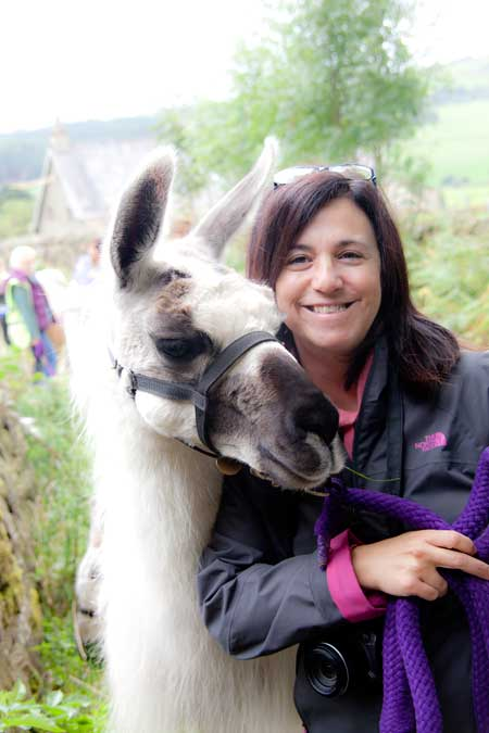 jo with bertie the llama at nidderdale yorkshire